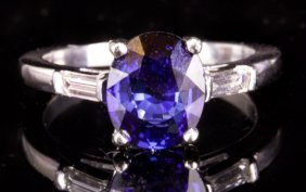 Platinum Ring With Diamond And Sapphire