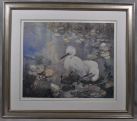 "Walter Greer Lithograph ""Egrets"""