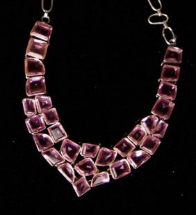 Sterling And Multi Stone Necklace,