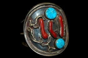 Navajo Sterling Old Pawn Turquoise Coral Cuff