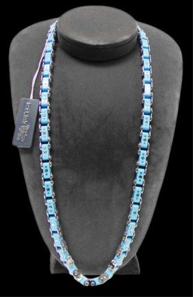 Blue Ice Link Bicycle Chain Necklace