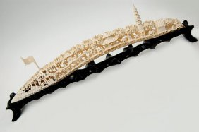 "Chinese Carved 17"" Ivory Tusk Bridge"