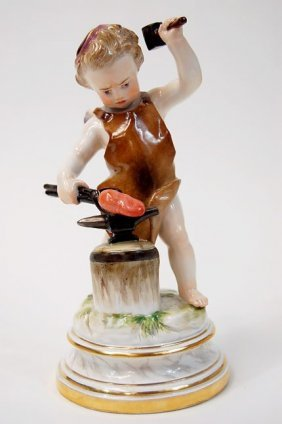 Meissen L Series L114 Cupid Forging A Heart, Measur