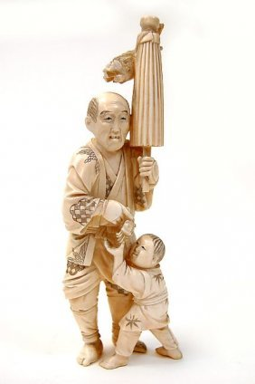 "Chinese Carved Ivory 7.25"" Figure Of A Man Teasing"