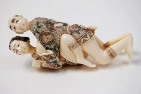 Japanese Erotic Ivory Carving Depicting An Amorous