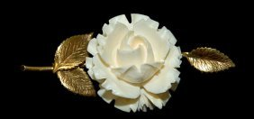 """14K Gold And Ivory Brooch Measuring 2.5"""" Long, Exce"""