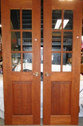 Pair Of Pre-stained French Doors With Brass Hardwa