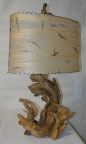 Large Late 40's, Early 50's Driftwood Lamp W/ Parchment