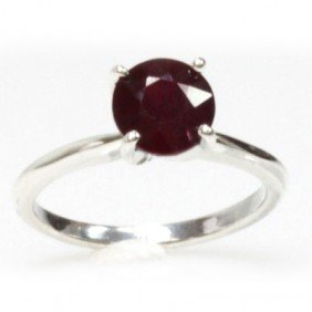 Natural 2ctw Ruby Round Cut .925 Sterling Ring
