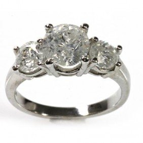 Certified 3.00 Ctw Three Stone Diamond Ring H-I I1 I2