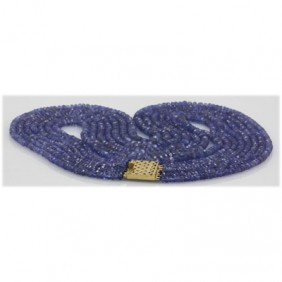Natural 262.95ctw Tanzanite Graduated 4 Rows Necklace