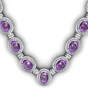 Certified 36.10 Ctw Amethyst Diamond Necklace 14k
