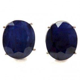 Genuine 17.32 Ctw Sapphire Stud Earring 14kt W/Y Gold