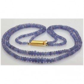 Natural 126.21ctw Tanzanite Graduated 2 Rows Necklace