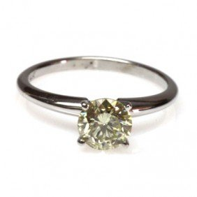Genuine 0.90 Ctw Solitaire Round Ring, K-L, SI3
