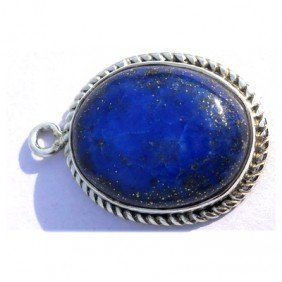 Natural 17.55 Ctw Lapis Oval .925 Sterling Pendant