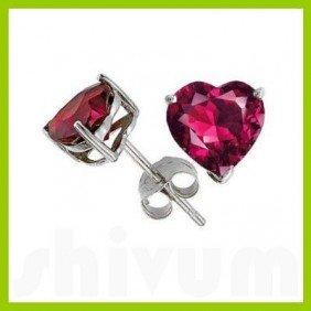 Genuine 3.0 Ctw Heart Ruby Stud Earrings 14kt