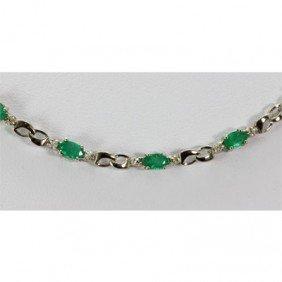 Genuine 6.02 Ctw Emerald Diamond Necklace10k W/Y Gold