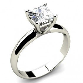 0.50 Ct Princess Cut Diamond Solitaire Ring, G-H, I