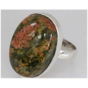 Natural 35.53 Ctw Semi Precious .925 Sterling Ring