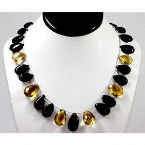 331.80 Ctw Black Onyx & Citrine Drops Bead Necklace