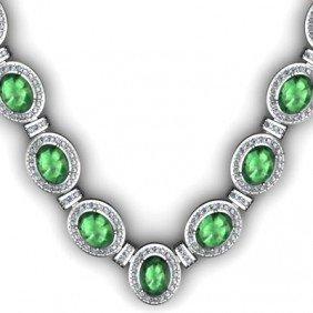 Certified 36.35 Ctw Emerald Diamond Necklace 18k