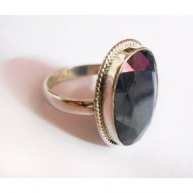 Natural 28.00 Ctw Sapphire Oval Ring .925 Sterling