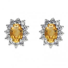 Genuine 2.08 Ctw Citrine Earring 14k 2.1g