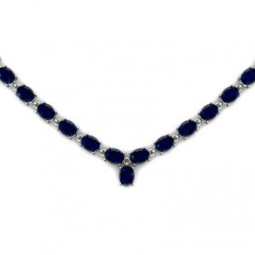 NATURAL 30.00 CTW SAPPHIRE NECKLACE .925 STERLING SILVE