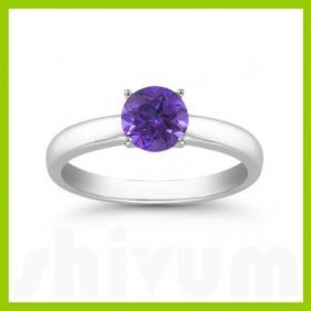 Genuine 0.40 Ctw Tanzanite Solitaire Ring 14kt