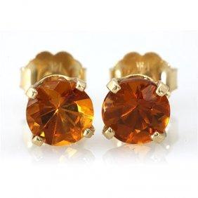 Genuine 3.20 Ctw Orange Citrine Stud Earring 14k 0.96g