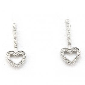 Genuine 0.17 Ctw Diamond Heart Dangling Earring 14k