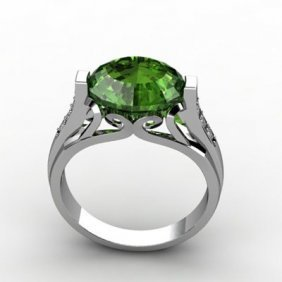 Genuine 5.09 Ctw Emerald Ring 14k W/Y Gold