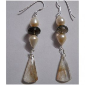 Natural 35.10ct Pearl/Semi Precious Earring .925 Sterli