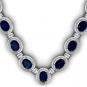 Certified 43.60 Ctw Sapphire Diamond Necklace 14k