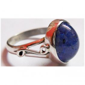 Natural 22.CTW. Tanzanite Oval .925 Sterling Silver Rin