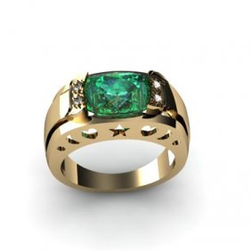 Genuine 3.20 Ctw Emerald Diamond Ring W/Y Gold 10kt