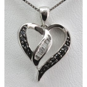 Genuine 0.12 Ctw Round Diamond Heart Pendant 18k