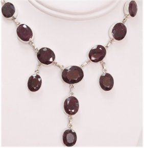 NATURAL 310.0 CTW RUBY OVAL NECKLACE .925 STERLING SILV