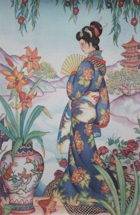 Asian Women In Robe Near River Print/lithograph