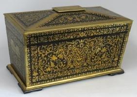 Fine Regency Brass Marquetry And Ebony Tea Caddy