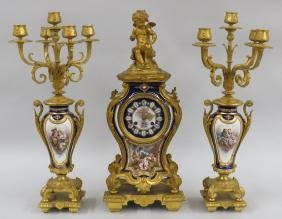 19TH C. SEVRES-STYLE PORCELAIN AND ORMOLU CLOCK SET