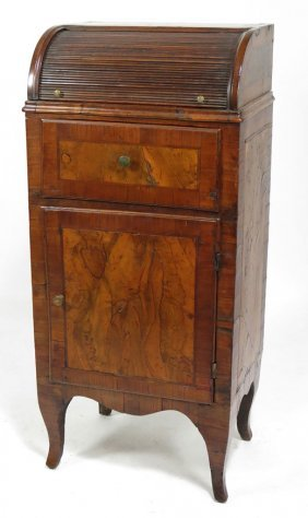 ITALIAN SMALL INLAID WALNUT TAMBOUR CABINET