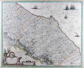 17TH C. DUTCH MAP OF UMBRIA, ITALY