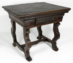 18TH C. SPANISH CARVED WALNUT LIBRARY TABLE