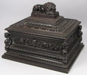 ENGLISH ORNATELY CARVED EBONIZED VALUABLES BOX