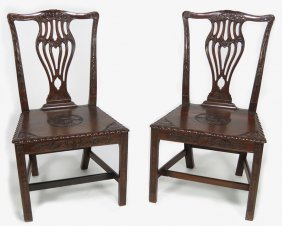 PAIR OF CHINA TRADE CARVED HARDWOOD SIDE CHAIRS
