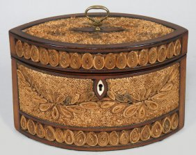 ENGLISH REGENCY ROLLED PAPER TEA CADDY