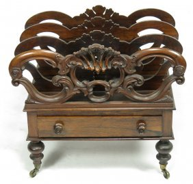 ENGLISH REGENCY CARVED ROSEWOOD CANTERBURY