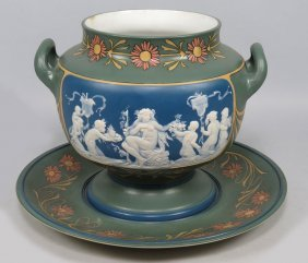 METTLACH PHANOLITH TUREEN WITH UNDER TRAY